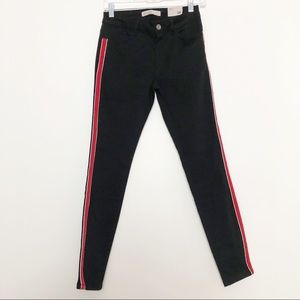 Zara Mid Rise Skinny Black Jeans with Red Stripe